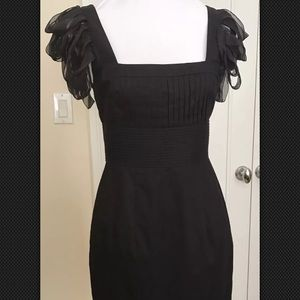 Catherine Malandrino Ribbon Cap Sleeve Black Dress